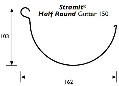 Stramit Half-Round 150 Gutter Specifications