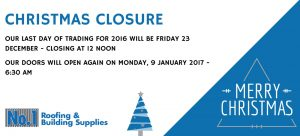 No1 Roofing Christmas Closure 2016