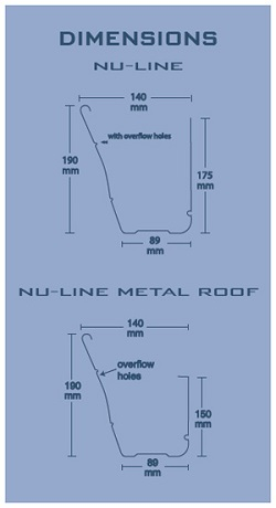 ACE Gutters Nu Line Gutter Specifications