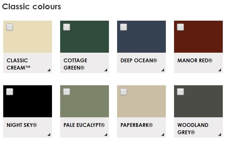 Colorbond Classic Colour Range