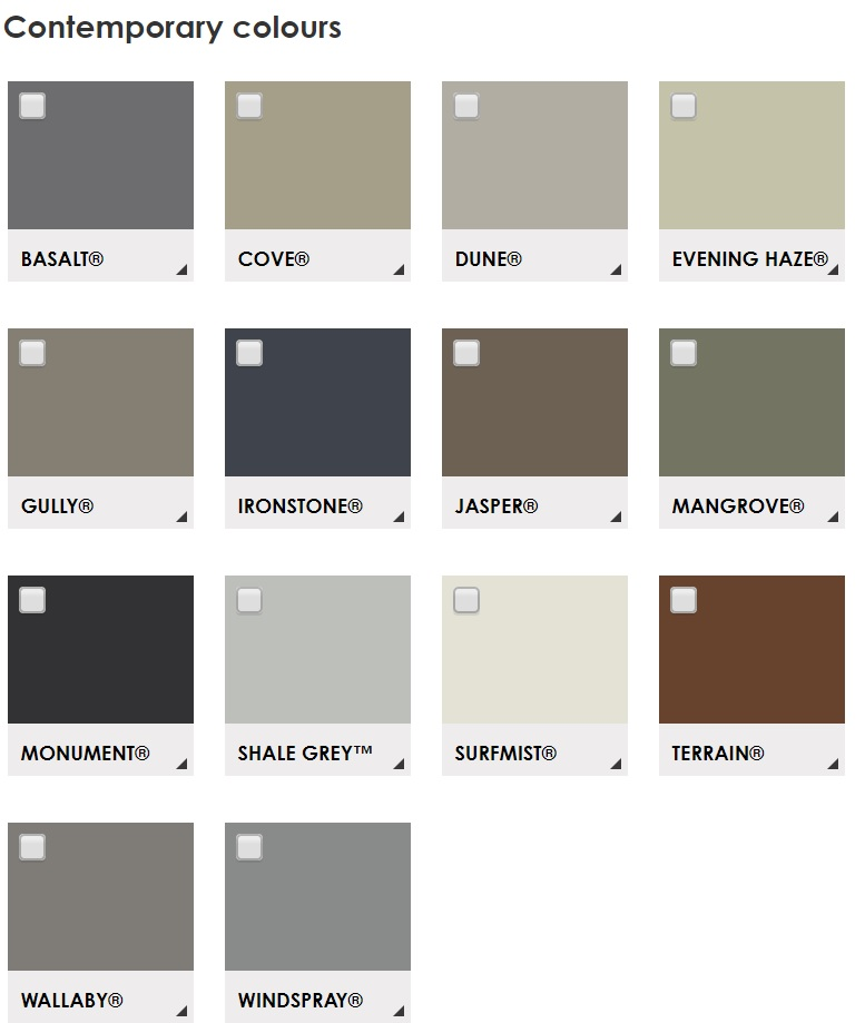 Colorbond Contemporary Colour Range