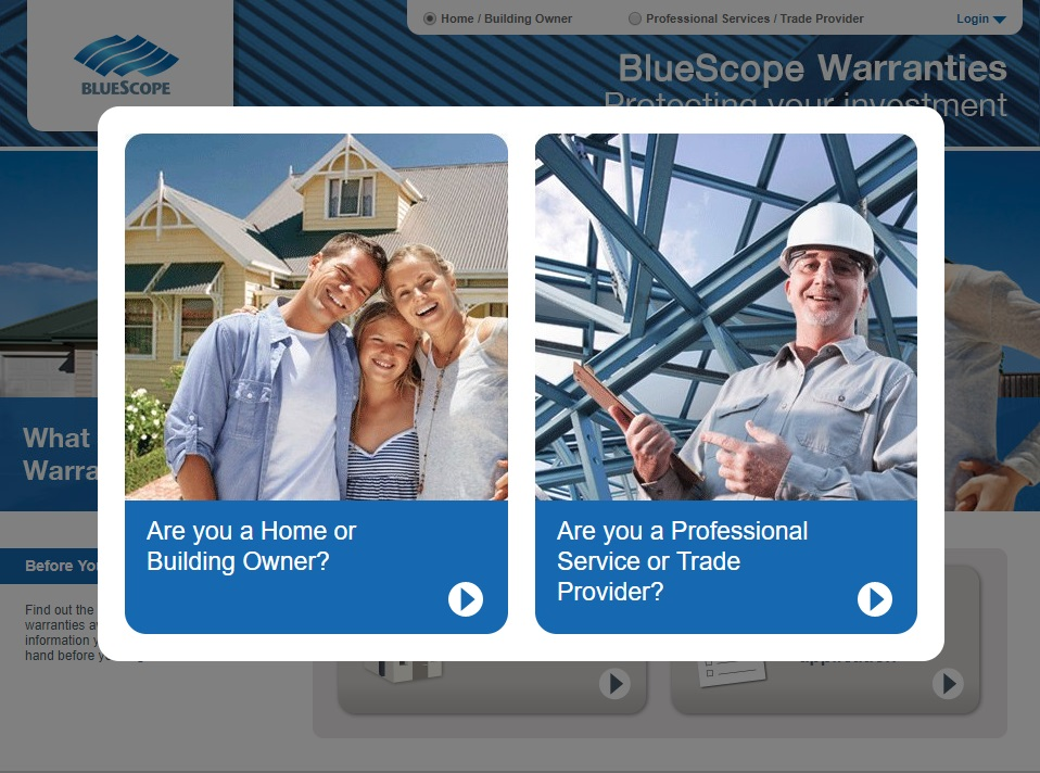 BlueScope Warranties Registration Website