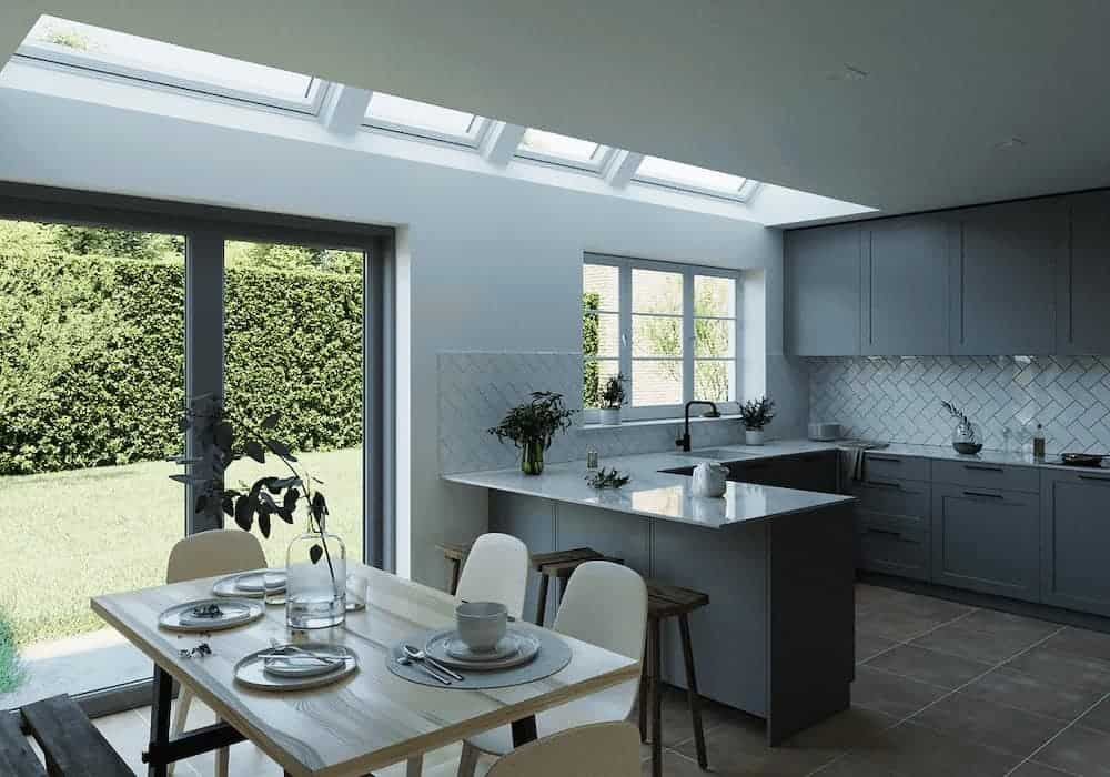 Plenty Of Natural Light In The Kitchen Space Due to Velux Skylight